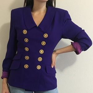 Vintage Tempo Paris Purple Gold Button Blazer